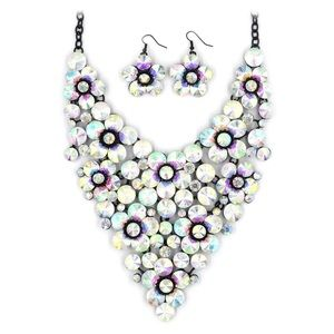 Colorful crystal flowers necklace set